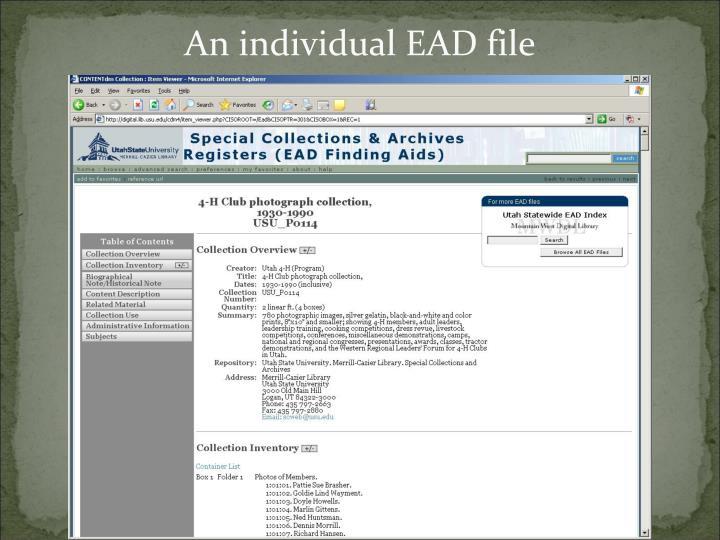 An individual EAD file