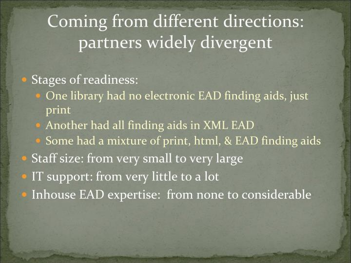 Coming from different directions:  partners widely divergent
