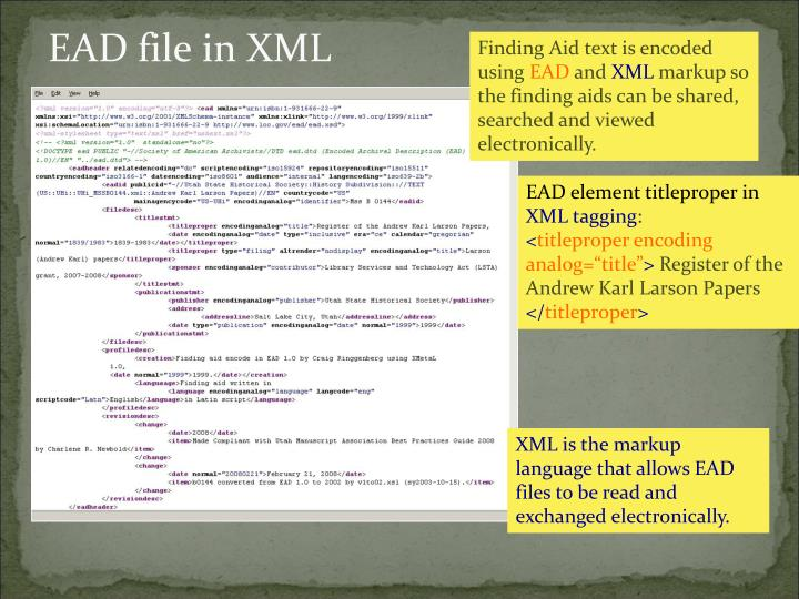 EAD file in XML