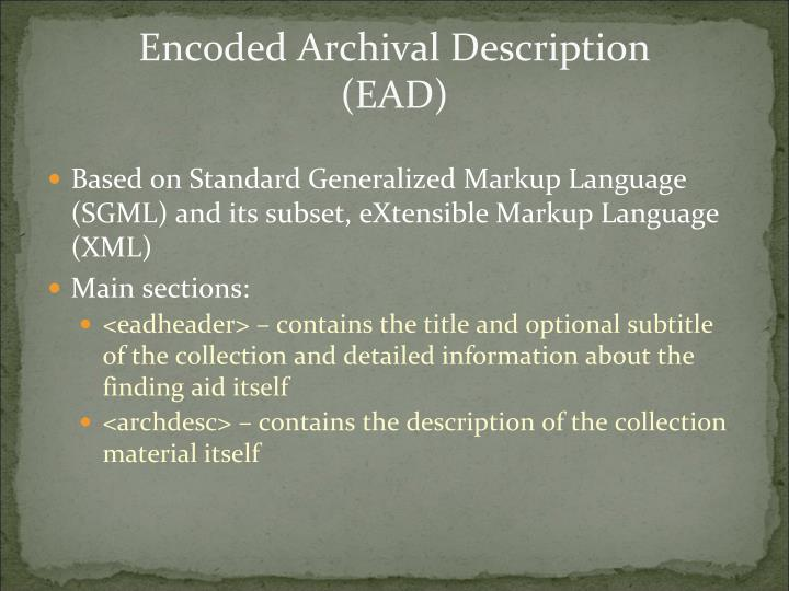Encoded archival description ead1