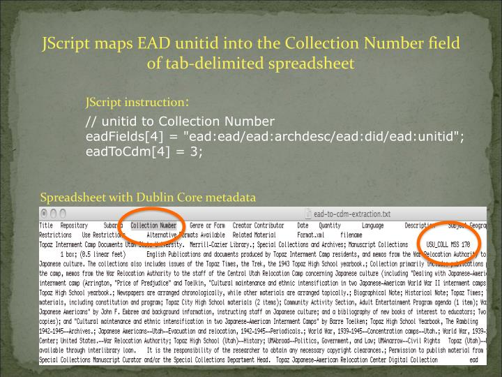 JScript maps EAD unitid into the Collection Number field