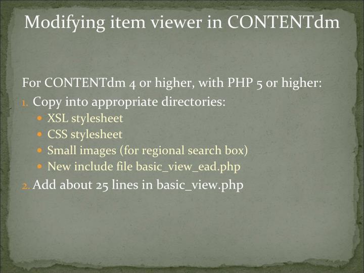 Modifying item viewer in CONTENTdm