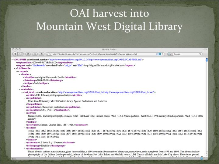 OAI harvest into