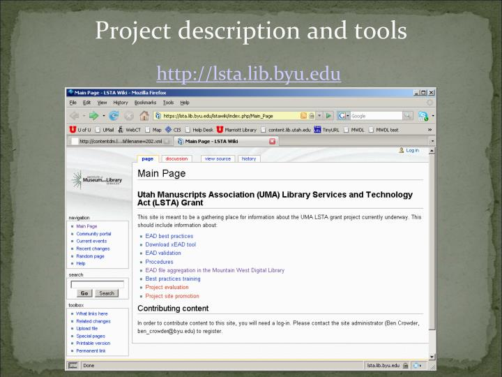 Project description and tools