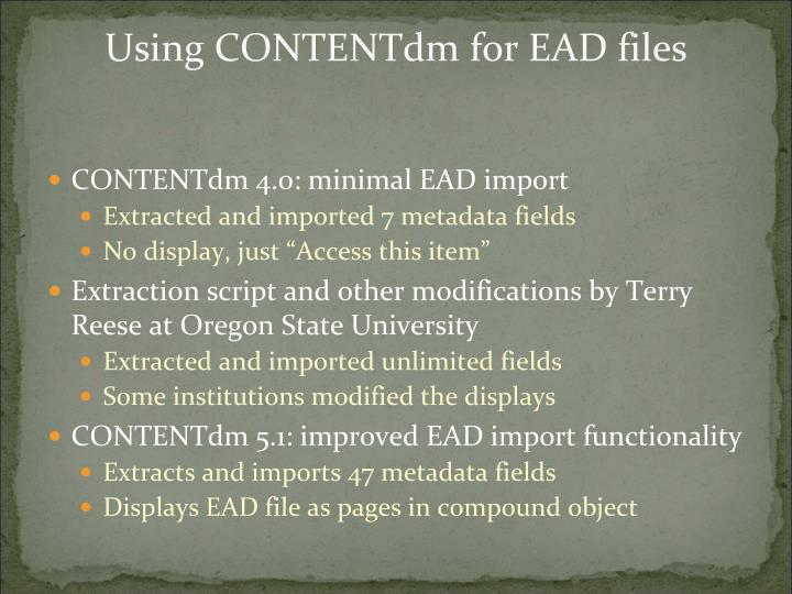 Using CONTENTdm for EAD files
