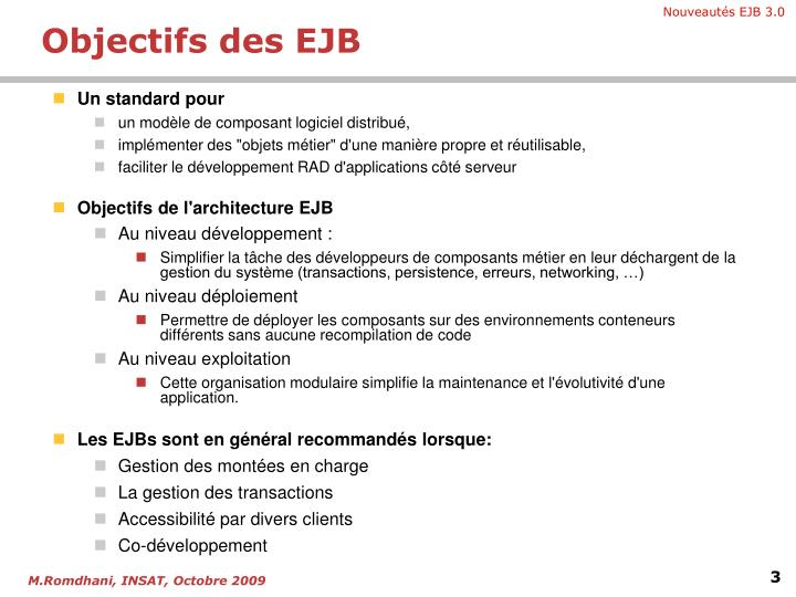Objectifs des EJB