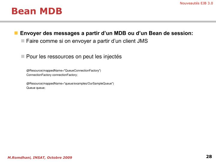 Envoyer des messages a partir d'un MDB ou d'un Bean de session: