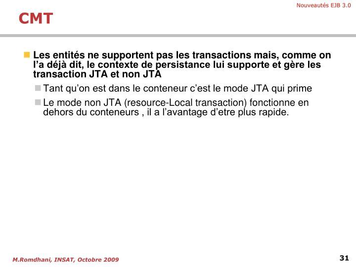 Les entités ne supportent pas les transactions mais, comme on l'a déjà dit, le contexte de persistance lui supporte et gère les transaction JTA et non JTA
