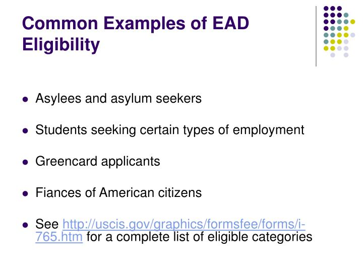 Common Examples of EAD Eligibility