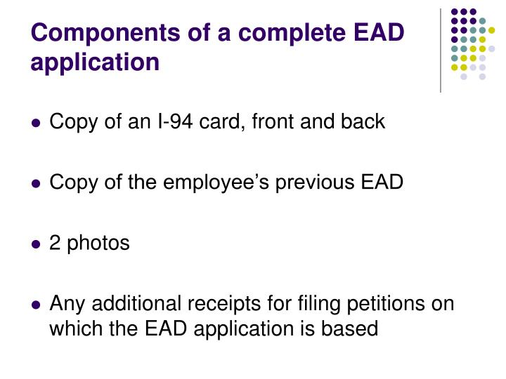 Components of a complete EAD application