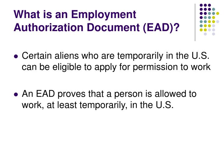 What is an employment authorization document ead
