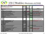 cd 2 worklist electronics daq