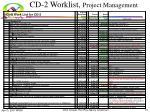 cd 2 worklist project management
