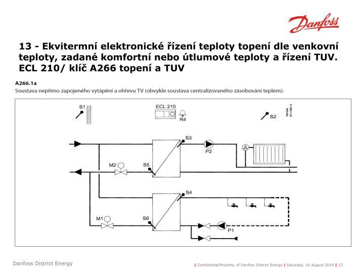 13 - Ekvitermní elektronické řízení teploty topení dle venkovní teploty, zadané komfortní nebo útlumové teploty a řízení TUV.