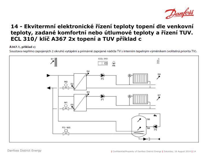 14 - Ekvitermní elektronické řízení teploty topení dle venkovní teploty, zadané komfortní nebo útlumové teploty a řízení TUV.