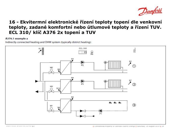 16 - Ekvitermní elektronické řízení teploty topení dle venkovní teploty, zadané komfortní nebo útlumové teploty a řízení TUV.