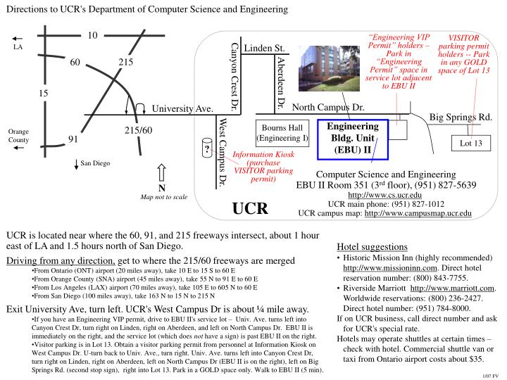 Directions to UCR's Department of Computer Science and Engineering
