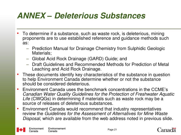 ANNEX – Deleterious Substances