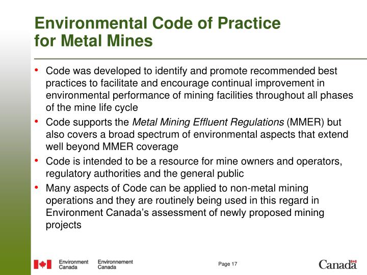 Environmental Code of Practice for Metal Mines