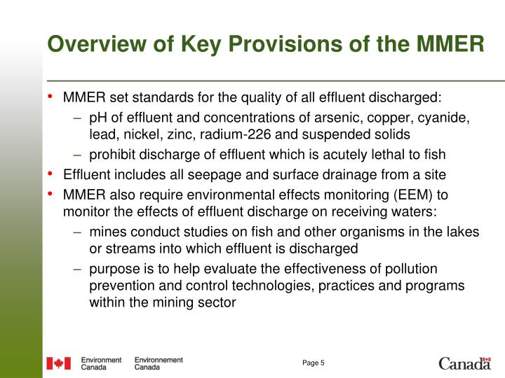 Overview of Key Provisions of the MMER