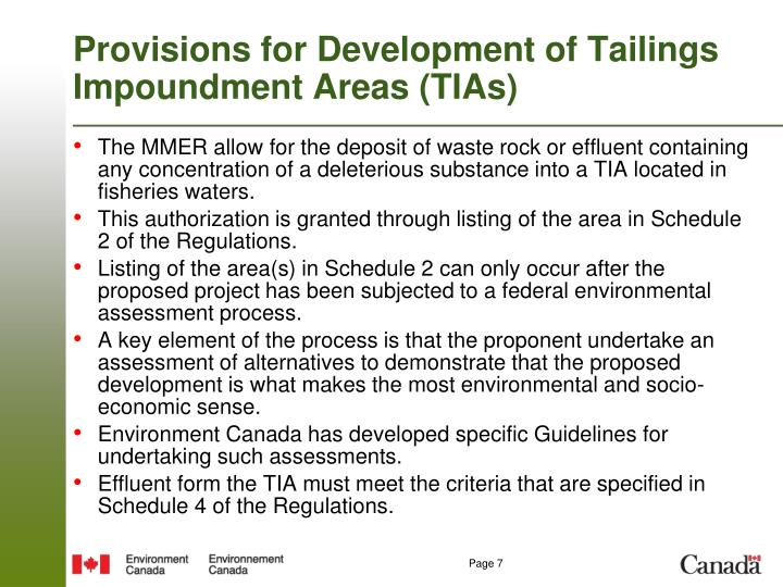 Provisions for Development of Tailings Impoundment Areas (TIAs)