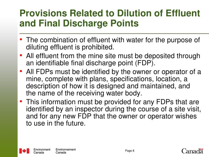 Provisions Related to Dilution of Effluent and Final Discharge Points