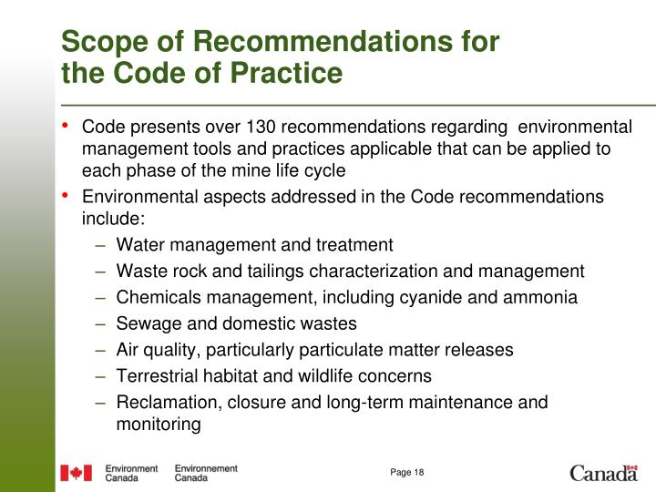 Scope of Recommendations for the Code of Practice