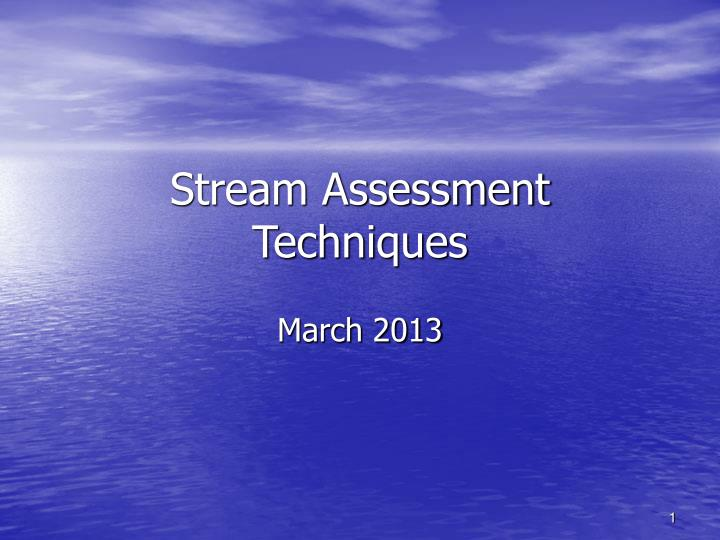 Stream assessment techniques