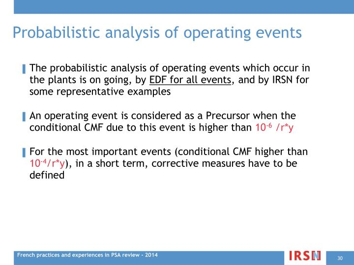 Probabilistic analysis of operating events