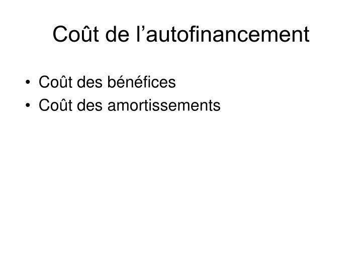 Coût de l'autofinancement