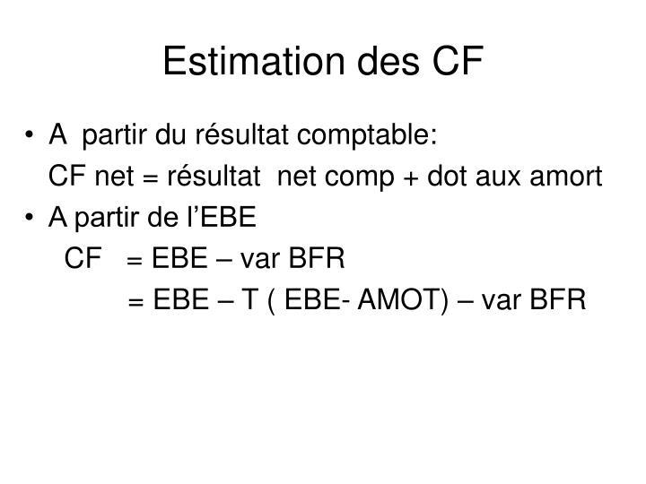 Estimation des CF