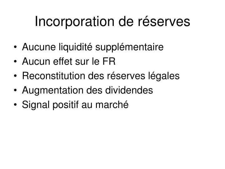 Incorporation de réserves