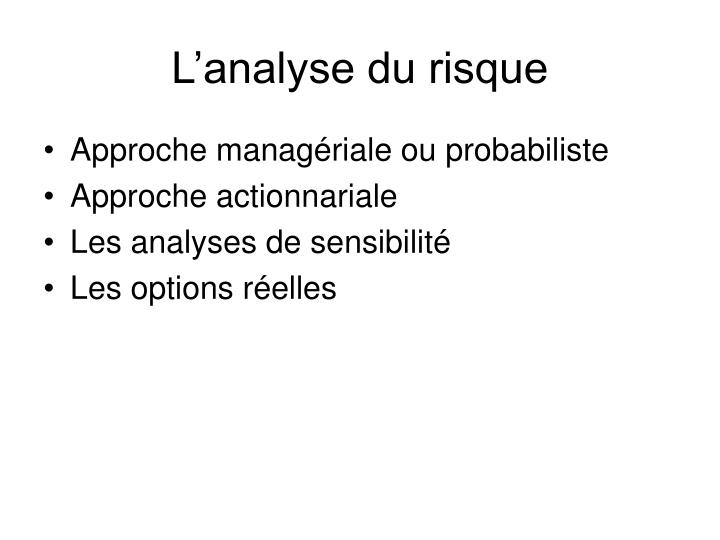 L'analyse du risque