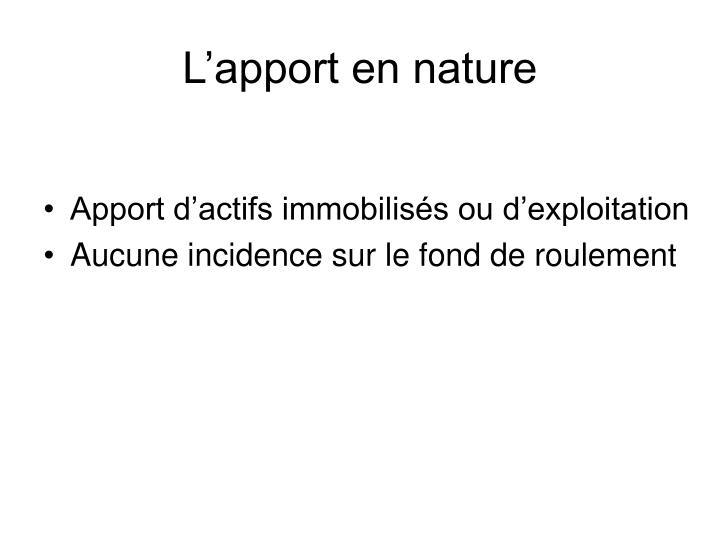 L'apport en nature