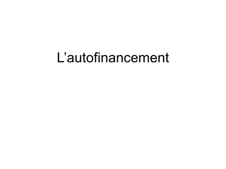 L'autofinancement