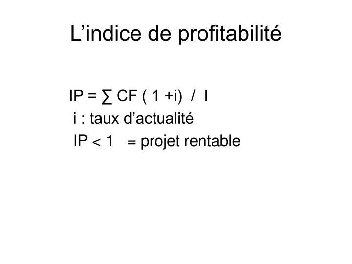 L'indice de profitabilité