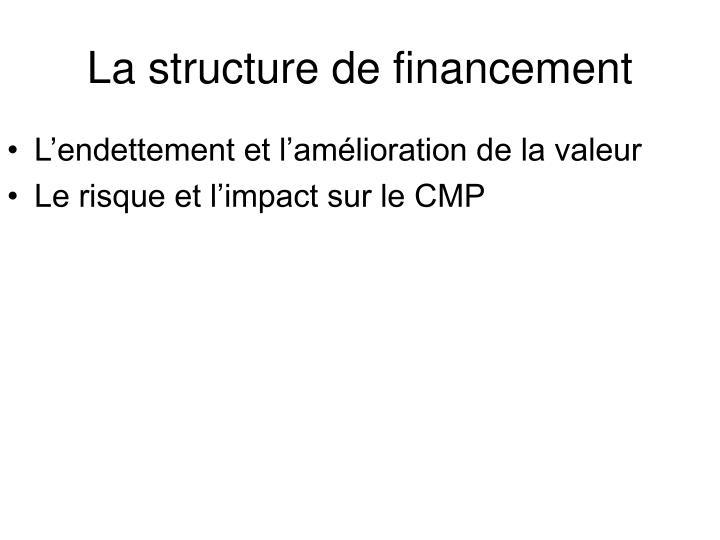 La structure de financement