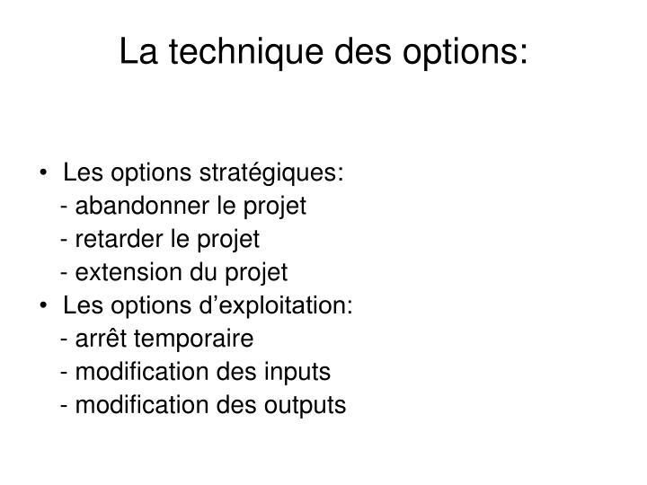 La technique des options:
