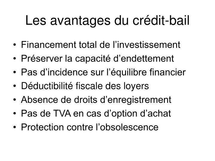 Les avantages du crédit-bail
