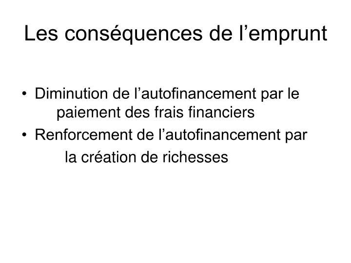 Les conséquences de l'emprunt