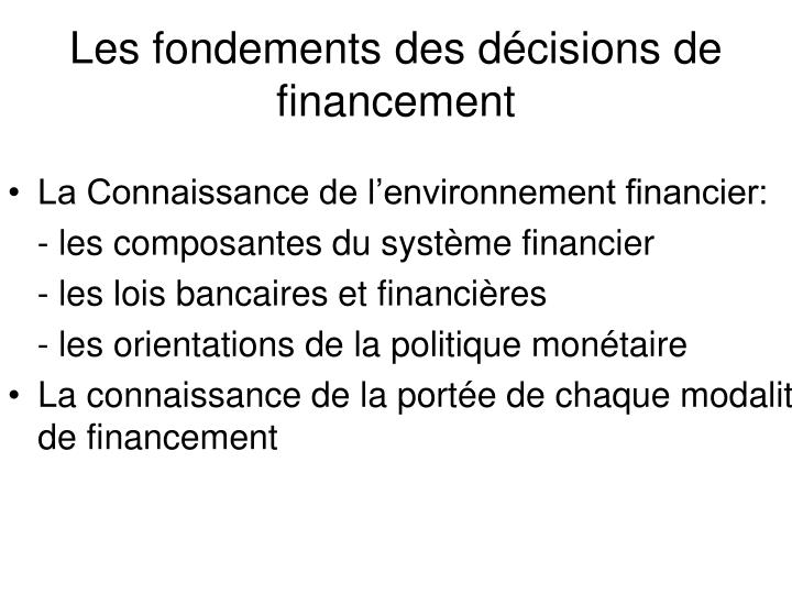 La Connaissance de l'environnement financier: