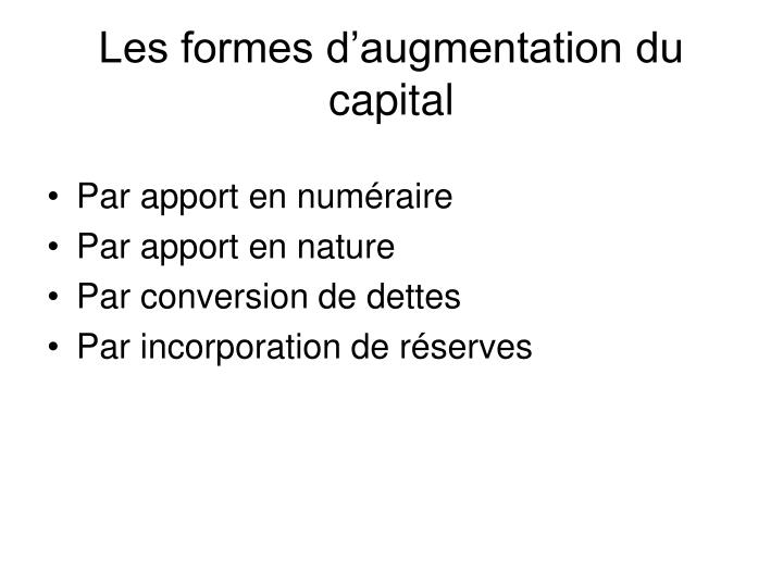 Les formes d'augmentation du capital