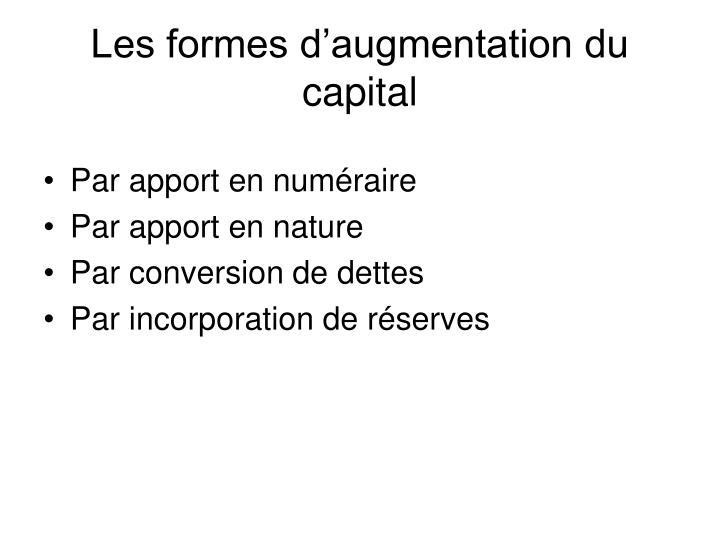 Les formes d'augmentation du capital