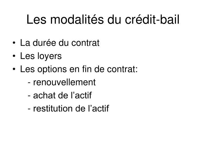 Les modalités du crédit-bail