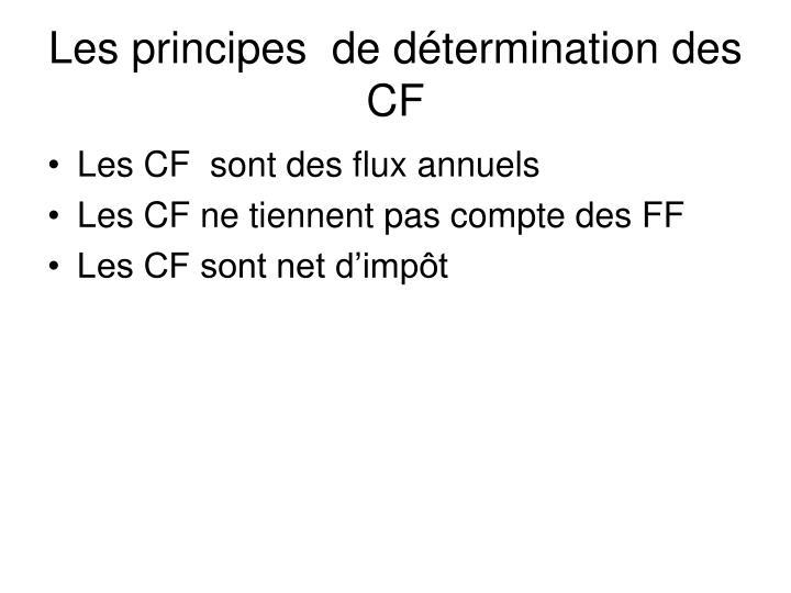 Les principes  de détermination des CF