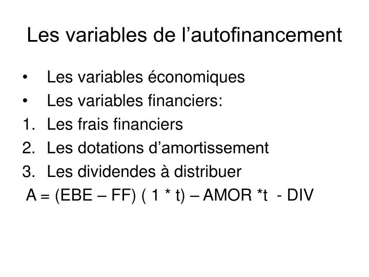 Les variables de l'autofinancement