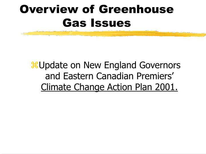 Overview of greenhouse gas issues