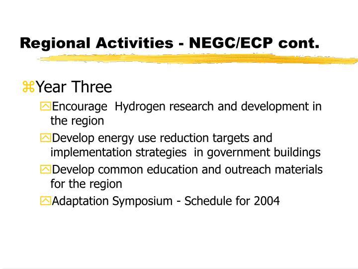 Regional Activities - NEGC/ECP cont.
