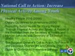 national call to action increase physical activity among youth