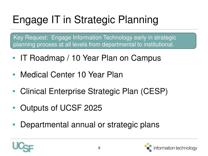 Engage IT in Strategic Planning